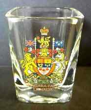 Niagara Falls square souvenir shot glass Canada coat of arms crest