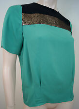DVF DIANE VON FURSTENBERG Emerald Green Black & Bronze Short Sleeve Blouse Top 8