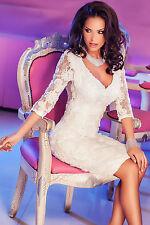 Abito ricamato nudo pizzo aderente aperto scollo trasparente Lace Midi Dress M
