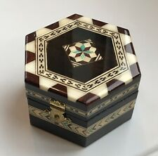 Miguel Laguna Espana Decorative Marquetry Wood Hinged Trinket Box Handmade Spain