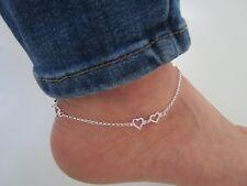 925 Silber 6 doppel Herzchen mit Ring Fußkettchen 26 + 4 cm Strand Neu