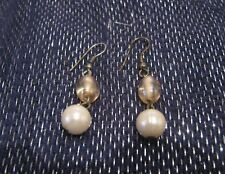 Lovely silver tone metal earrings yellow and faux pearl beads dangle style