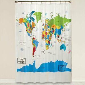 "Saturday Knight Ltd World Map Whimsical Geography Bath Shower Curtain - 70x72"""