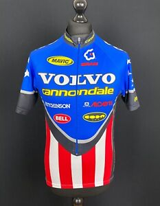 Cannondale Volvo Cycling Jersey Men's Size M 3/4 Zip Short Sleeved Bike Shirt