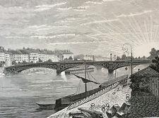 Paris Pont des Saints-Pères estampe de 1856