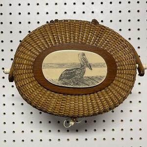 Vintage Scrimshaw Nantucket Basket Purse With Rare Pelican Design