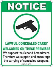 Concealed Weapons Allowed Sign Vinyl Sticker Decal
