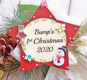 Bump's 1st Christmas 2020 Star Tree Decoration  for a Mum to be 13cm x 13cm