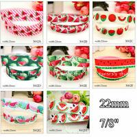 "5 Yards 7/8"" Watermelon Fruit Pattern Cute Grosgrain Ribbon Craft - 22mm"