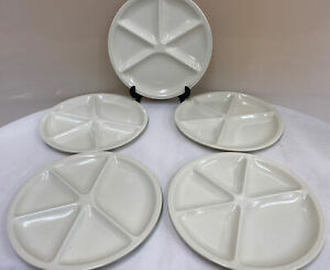 "Unusual Set Of Five Le Creuset White Divided Dinner Plates 10.25"" (D1)"
