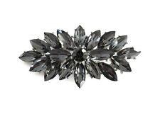 Vintage Inspired Dark Grey Marquise Rhinestone Crystal Brooch Wedding Party