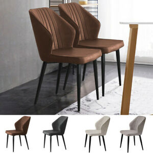 2X Retro Brown/ Grey Dining Chairs Faux Leather Kitchen Dining Room Metal Leg
