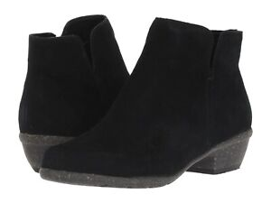 Women's Shoes Clarks WILROSE FROST Low Heel Ankle Booties 36060 BLACK SUEDE