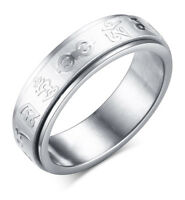 Spinner Mens Ring Stainless Steel Rotate Mantra Chinese Buddhism Charm Jewelry