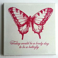Wall Picture Plaque , Vintage Retro style Handmade / Butterfly / Decoupage