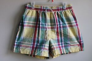 "Polo Ralph Lauren L Yellow Plaid 5"" Swim Trunks Shorts Elastic Waist Drawstring"