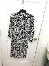 Lauren Ralph Lauren New Black & White Print Dress Size 10  long sleeves NWT
