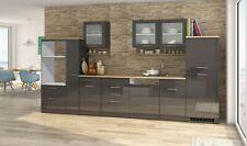 Küchenzeile ohne Geräte Einbauküche ohne Elektrogeräte 370 cm hochglanz grau