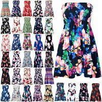 Womens Ladies Floral Gathered Ruched Sheering Boob Tube Strapless Bandeau Top