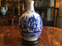 A Large Antique Chinese Blue and White Porcelain Bottle Vase.