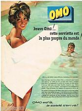 PUBLICITE ADVERTISING 105  1959  La lessive OMO  serviette de bain