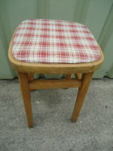 Vintage Wooden Kitchen Stool Padded Top Needs Recovering to your Choice