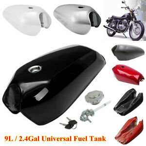9L/2.4Gallon Universal Vintage Motorcycle Fuel Gas Tank & Cap Switch Multi-color