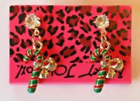 Betsey Johnson Crystal Rhinestone Enamel Candy Cane Post Earrings