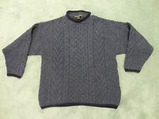 Inis Crafts 100% Wool Fishermans Sweater Thick Aran Ireland Knit XL Heather Blue