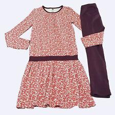 Tea Collection Girls Prune Autumn Leaves Dress Drop Waist Leggings Set 10 kg1