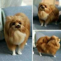 Realistic Pomeranian Simulation Toy Dog Puppy Lifelike x Companion Toy R0Q6