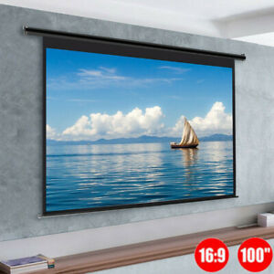 """100"""" Projector Screen Pull Down Home Camping HD 16:9 Movie Theater Self Locking"""