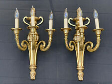 """Antique Gilt Bronze Brass French Neoclassical Wall Sconce Pair 21"""" 3 Light"""