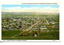 Bird's Eye-Aerial View-Town-City of La Grande-Oregon-Vintage W/B Postcard