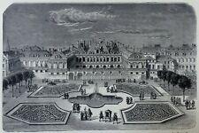 Vue du JARDIN du PALAIS ROYAL à PARIS sous le ROI Louis XV (Louis 15) - Gravure