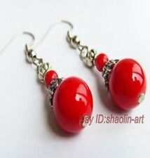 Promotions spéciales!  Le style du Tibet, Corail rouge ,boucles d'oreilles