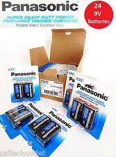 24 x Panasonic 9 Volts (9V) Battery Batteries Super Heavy Duty Zinc Carbon