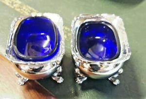 Antique Sterling Silver 2 Cruet Salts or Mustard Pots & Cobalt Blue Glass Liners