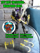 DSA clear-yellow 8pc Cyber Ninja weapons for Transformers Selects Nightbird.