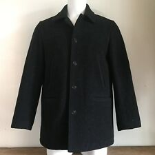 J.Crew Mens Coat M Wool Solid Black University Jacket Lined Warm Thinsulate