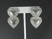 Vintage Tag Earrings Solid 925 Sterling Silver Heart Victorian Style Drop Dangle