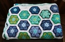 "Handmade Crochet Hexagon Afghan/throw, blues & greens on white,  52"" x 36"""
