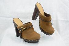 Coach Rana Womens Brown Tassel Studded Clogs Mules Heels Shoe Horsebit 7B B12