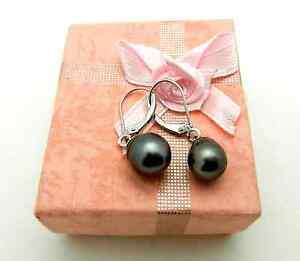Casual 14k White Gold Leverback Dangle Baroque Black PEARLS Earrings