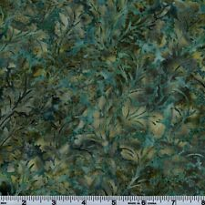 Hoffman Bali Batik GRN 5114 Sonoma Teal Abstract Leaf Design By The Yard