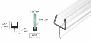 """CRL One-Piece Bottom Rail With Clear Wipe for 3/8"""" Glass - 90 in Long"""