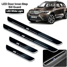 BMW X5 E70 (2011-2015) White LED ON Door Side Sill Scuff Protector Plate Trim