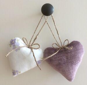 Pair Laura Ashley Fabric Heart Door Hangers Velvet Amethyst & Abbeville Grape