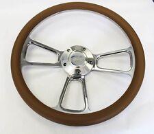"Falcon Thunderbird Galaxie Steering Wheel TAN & Billet 14"" Ford Center Cap"