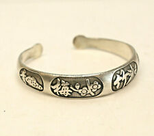 Chinese Sterling Silver Bangle Cuff Bracelet, Four Seasons?, with character mark
